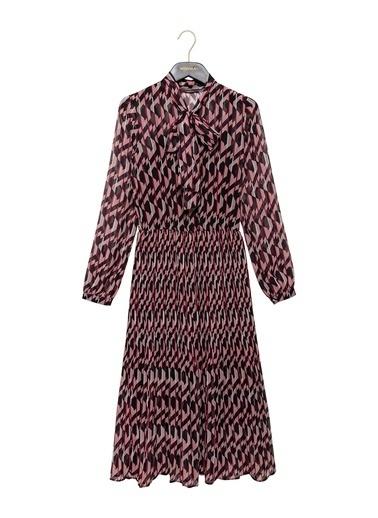 Vekem-Limited Edition Geometrik Desenli Piliseli Şifon Elbise Siyah